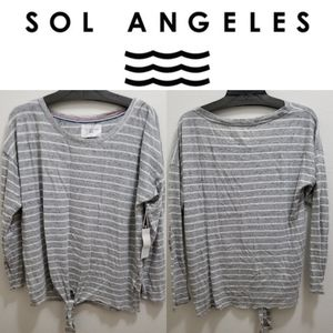 (NWT) SOL ANGELES Gray and White Striped Top